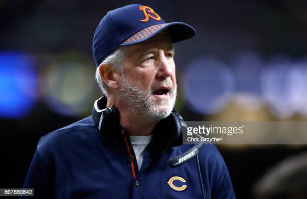 Head coach John Fox of the Chicago Bears looks on as his team takes on the New Orleans Saints at the MercedesBenz Superdome on October 29 2017 in New...