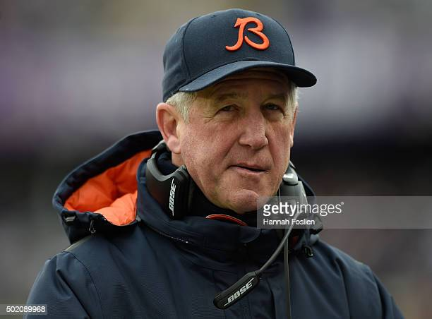Head coach John Fox of the Chicago Bears looks on during the second quarter of the game against the Minnesota Vikings on December 20 2015 at TCF Bank...