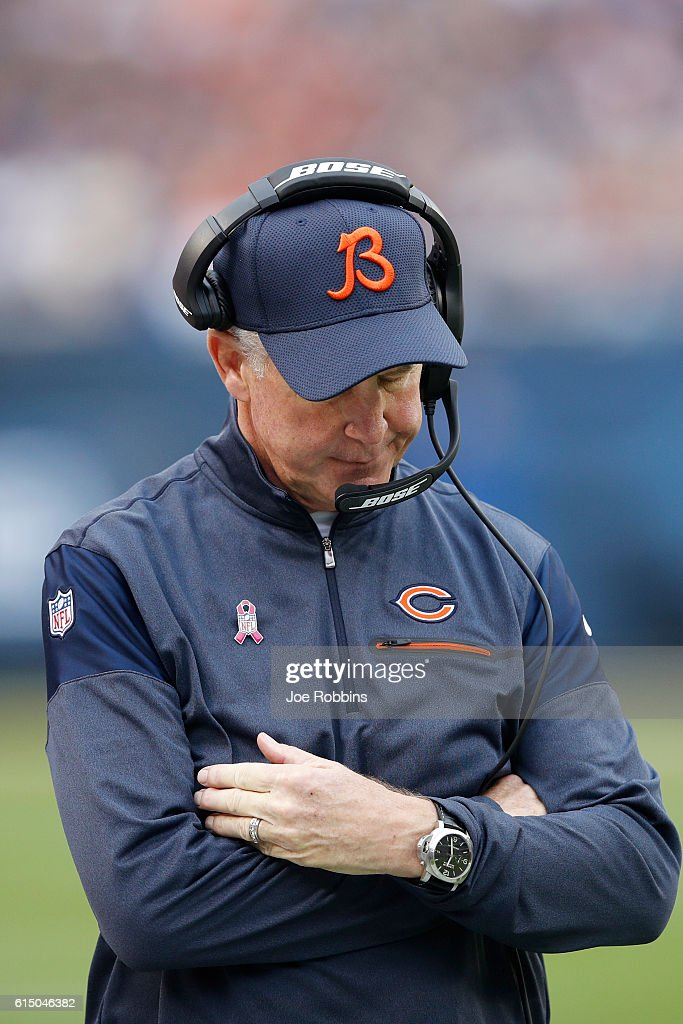 Head coach John Fox of the Chicago Bears reacts during the game against the Jacksonville Jaguars at Soldier Field on October 16, 2016 in Chicago, Illinois. The Jaguars defeated the Bears 17-16.