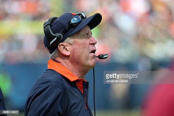 Head coach John Fox of the Chicago Bears reacts to a play on the field during the game against the Green Bay Packers at Soldier Field on September 13...