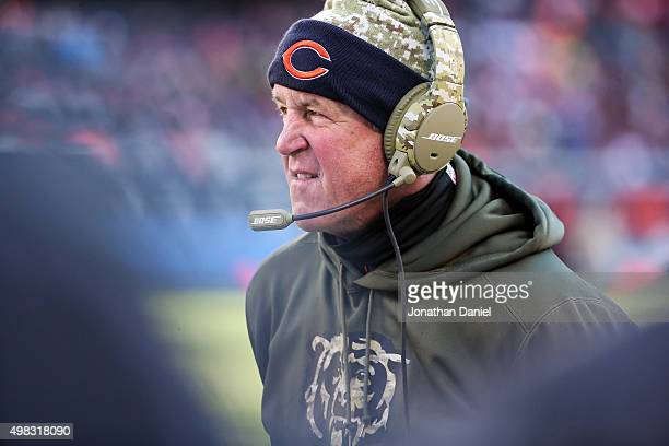 Head coach John Fox of the Chicago Bears stands on the sidelines in the third quarter against the Denver Broncos at Soldier Field on November 22 2015...