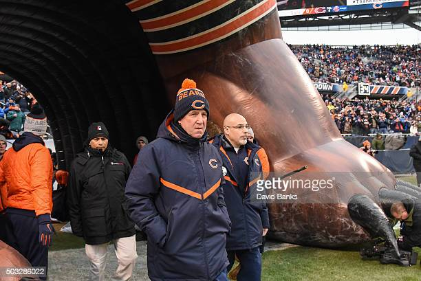 Head coach John Fox of the Chicago Bears walks out to the field prior to the start of the game against the Detroit Lions at Soldier Field on January...