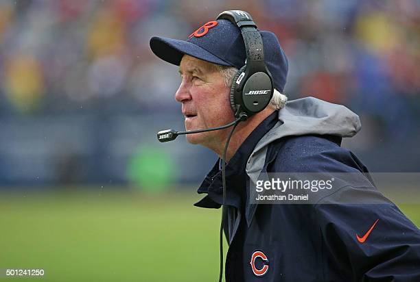 Head coach John Fox of the Chicago Bears watches as his team takes on the Washington Redskins in the 3rd quarter at Soldier The Redskins defeated the...