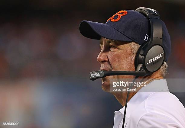 Head coach John Fox of the Chicago Bears watches as his team takes on the Denver Broncos at Soldier Field on August 11 2016 in Chicago Illinois