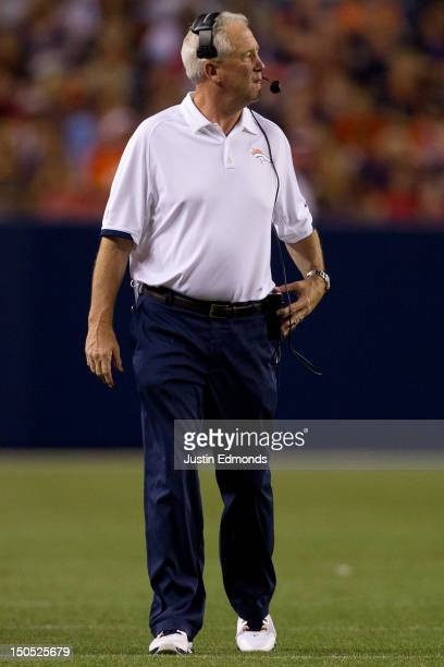 Head coach John Fox of the Denver Broncos in action against the Seattle Seahawks at Sports Authority Field Field at Mile High on August 18 2012 in...