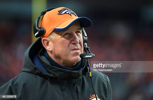 Head coach John Fox of the Denver Broncos looks up to the score during the first half The Denver Broncos played the Indianapolis Colts in an AFC...