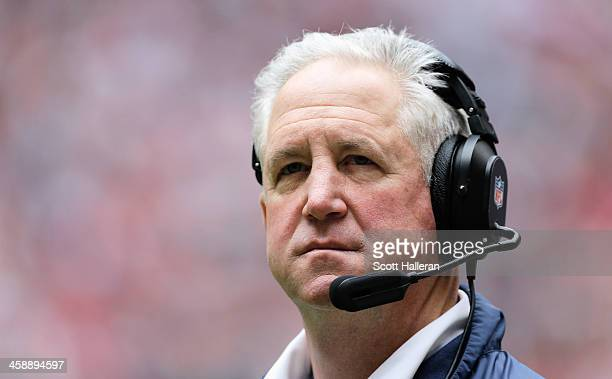 Head coach John Fox of the Denver Broncos waits on the sideline during the first half of the game against the Houston Texans at Reliant Stadium on...