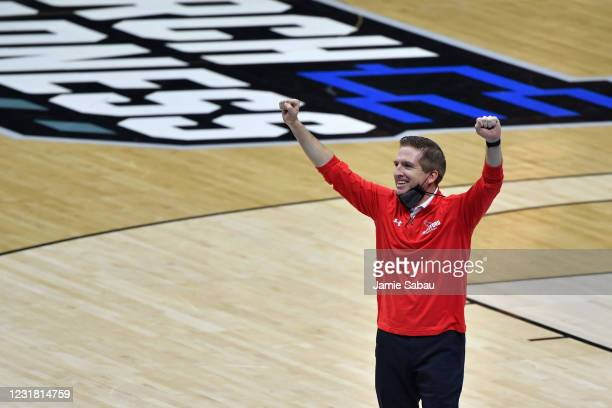 Head Coach John Gallagher of the Hartford Hawks acknowledges the crowd after his team lost to the Baylor Bears in the first round of the 2021 NCAA...