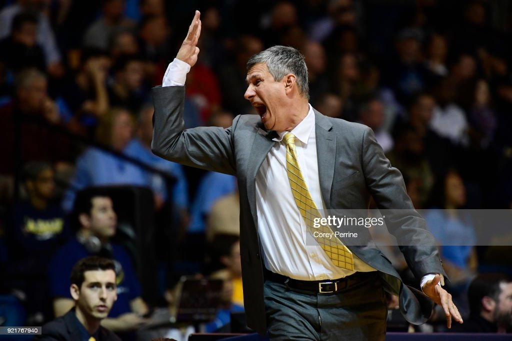 Head coach John Giannini of the La Salle Explorers reacts during action against the Rhode Island Rams during the first half at Tom Gola Arena on February 20, 2018 in Philadelphia, Pennsylvania.