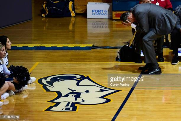 Head coach John Giannini of the La Salle Explorers reacts during the game against the Rhode Island Rams during the second half at Tom Gola Arena on...