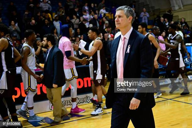 Head coach John Giannini of the La Salle Explorers walks off the court after the loss against the St Bonaventure Bonnies at Tom Gola Arena on...