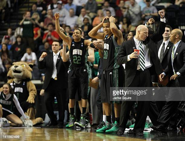 Head coach John Groce of the Ohio Bobcats celebrates after defeating the South Florida Bulls during the third round of the 2012 NCAA Men's Basketball...