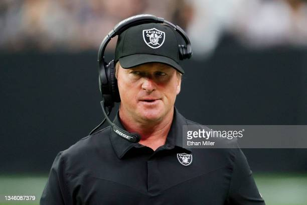 Head coach John Gruden of the Las Vegas Raiders reacts on the sideline during a game against the Chicago Bears at Allegiant Stadium on October 10,...