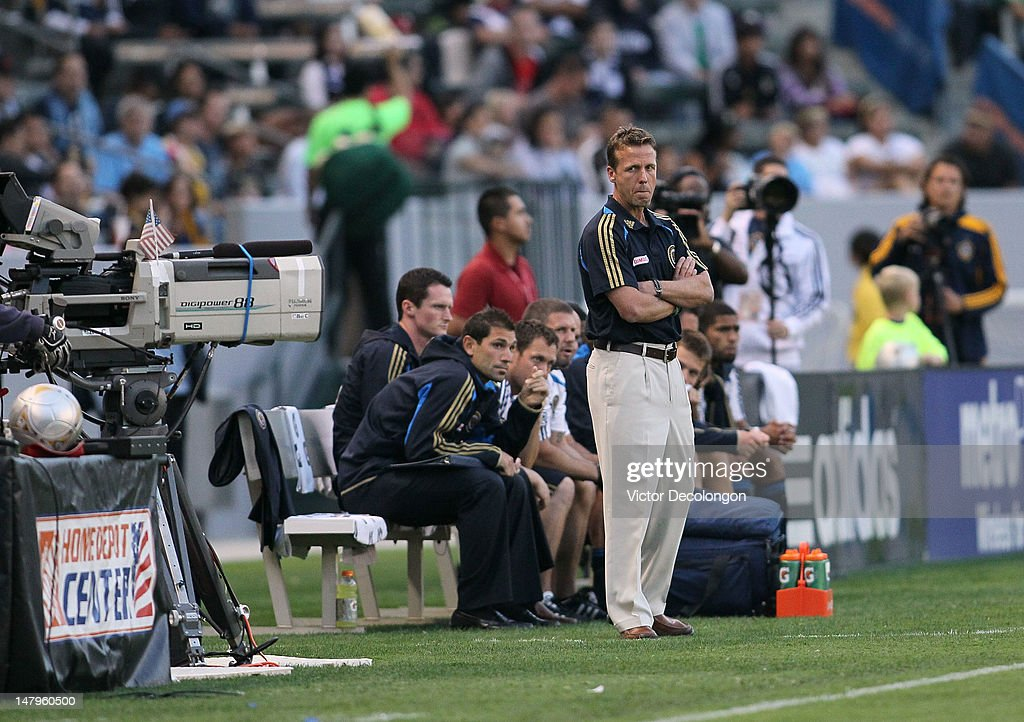 Head Coach John Hackworth of the Philadelphia Union looks on from the sideline during the MLS match between the Philadelphia Union and the Los Angeles Galaxy at The Home Depot Center on July 4, 2012 in Carson, California.