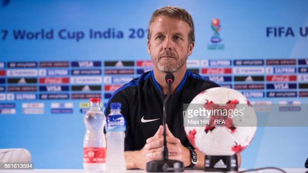 Head Coach John Hackworth of USA speaks during a press conference ahead of the FIFA U17 World Cup India 2017 tournament at on October 15 2017 at...