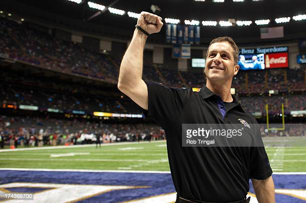 Head coach John Harbaugh of the Baltimore Ravens celebrates during Super Bowl XLVII against the San Francisco 49ers on February 3 2013 in New Orleans...