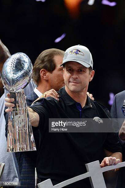 Head coach John Harbaugh of the Baltimore Ravens celebrates with the Vince Lombardi trophy after the Ravens won 3431 against the San Francisco 49ers...