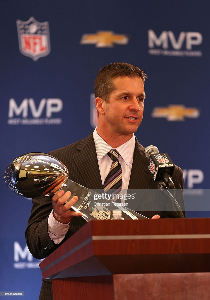 Head coach John Harbaugh of the Baltimore Ravens holds the Super Bowl trophy as he speaks during the Super Bowl XLVII Team Winning Coach and MVP Press Conference at the Ernest N. Morial Convention Center on February 4, 2013 in New Orleans, Louisiana.