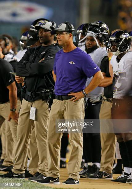 Head coach John Harbaugh of the Baltimore Ravens in action against the Pittsburgh Steelers on September 30 2018 at Heinz Field in Pittsburgh...