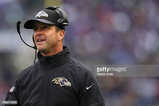 Head coach John Harbaugh of the Baltimore Ravens looks on against the St Louis Rams in the second quarter at MT Bank Stadium on November 22 2015 in...