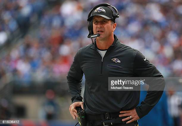 Head coach John Harbaugh of the Baltimore Ravens looks on against the New York Giants during the first half of the game at MetLife Stadium on October...