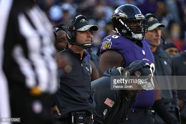 Head coach John Harbaugh of the Baltimore Ravens looks on against the Pittsburgh Steelers in the fourth quarter at MT Bank Stadium on November 6 2016...