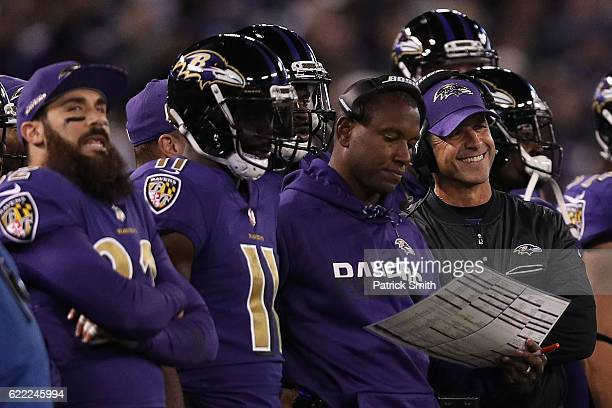 Head coach John Harbaugh of the Baltimore Ravens looks on against the Cleveland Browns in the second quarter at MT Bank Stadium on November 10 2016...