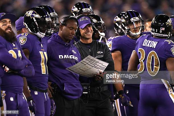Head coach John Harbaugh of the Baltimore Ravens looks on against the Cleveland Browns at MT Bank Stadium on November 10 2016 in Baltimore Maryland