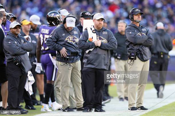 Head Coach John Harbaugh of the Baltimore Ravens looks on from the sidelines during the first quarter against the New Orleans Saints at MT Bank...