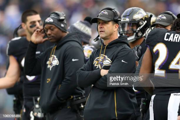Head Coach John Harbaugh of the Baltimore Ravens looks on from the sidelines in the second quarter against the Cincinnati Bengals at MT Bank Stadium...