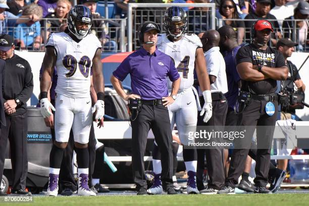 Head coach John Harbaugh of the Baltimore Ravens looks on from the sideline against the Tennessee Titans during the first half at Nissan Stadium on...