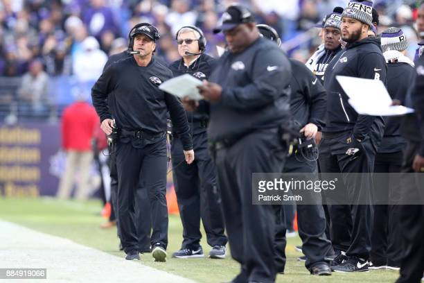 Head Coach John Harbaugh of the Baltimore Ravens looks on from the side line in the second quarter against the Detroit Lions at MT Bank Stadium on...