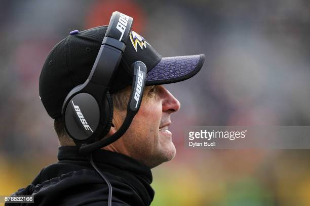 Head coach John Harbaugh of the Baltimore Ravens looks on in the fourth quarter against the Green Bay Packers at Lambeau Field on November 19 2017 in...