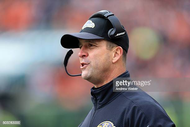 Head coach John Harbaugh of the Baltimore Ravens on the sidelines during the second quarter against the Cincinnati Bengals at Paul Brown Stadium on...
