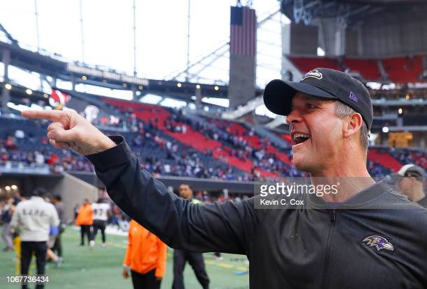 Head coach John Harbaugh of the Baltimore Ravens reacts after their 2616 win over the Atlanta Falcons at MercedesBenz Stadium on December 2 2018 in...