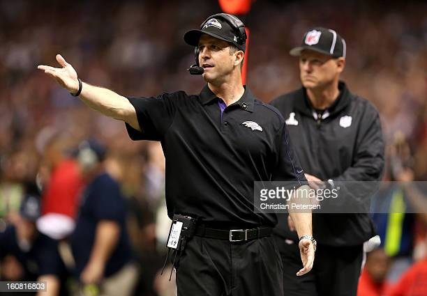 Head coach John Harbaugh of the Baltimore Ravens reacts against the San Francisco 49ers during Super Bowl XLVII at the MercedesBenz Superdome on...