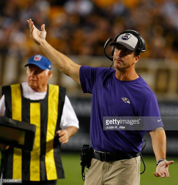 head coach John Harbaugh of the Baltimore Ravens reacts during the game against the Pittsburgh Steelers at Heinz Field on September 30 2018 in...