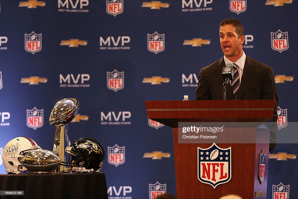 Head coach John Harbaugh of the Baltimore Ravens speaks during the Super Bowl XLVII Team Winning Coach and MVP Press Conference at the Ernest N. Morial Convention Center on February 4, 2013 in New Orleans, Louisiana.