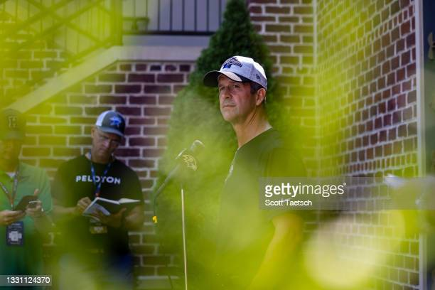 Head coach John Harbaugh of the Baltimore Ravens speaks to the media after training camp at Under Armour Performance Center Baltimore Ravens on July...