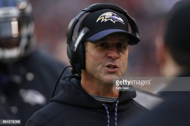 Head coach John Harbaugh of the Baltimore Ravens stands on the sideline during the game against the Cleveland Browns at FirstEnergy Stadium on...