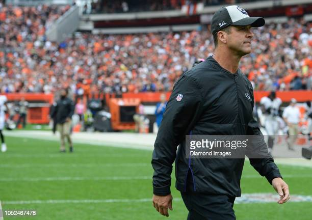 Head coach John Harbaugh of the Baltimore Ravens walks off the field after a game against the Cleveland Browns on October 7 2018 at FirstEnergy...