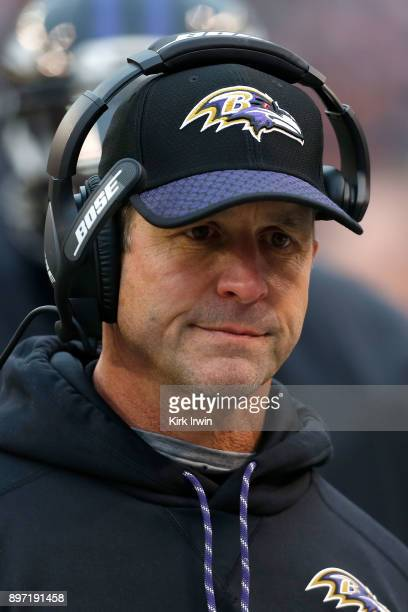 Head coach John Harbaugh of the Baltimore Ravens walks on the sideline during the game against the Cleveland Browns at FirstEnergy Stadium on...