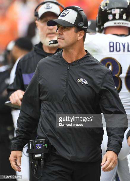 Head coach John Harbaugh of the Baltimore Ravens walls along the sideline in overtime of a game against the Cleveland Browns on October 7 2018 at...