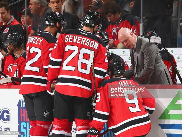 Head coach John Hynes of the New Jersey Devils gives instructions during the game against the Ottawa Senators at Prudential Center on February 21...