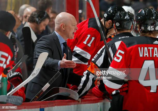 Head coach John Hynes of the New Jersey Devils in action against the Philadelphia Flyers on February 1 2018 at Prudential Center in Newark New Jersey...