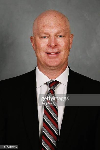 Head coach John Hynes of the New Jersey Devils poses for his official headshot of the 20192020 season on September 12 2019 at Prudential Center in...