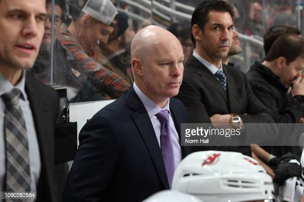 Head coach John Hynes of the New Jersey Devils watches from the bench against the Arizona Coyotes at Gila River Arena on January 4 2019 in Glendale...