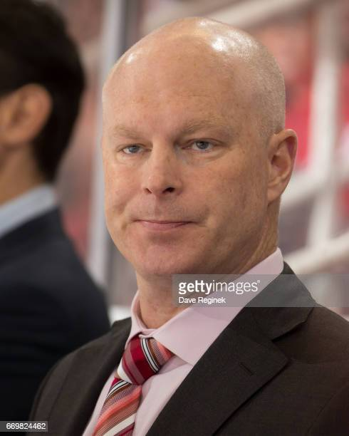 Head Coach John Hynes of the New Jersey Devils watches the action from the bench against the Detroit Red Wings during the final home game ever played...