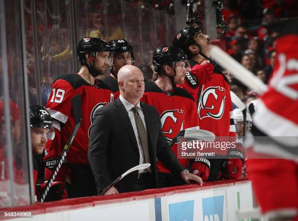 Head coach John Hynes of the New Jersey Devils works the bench against the Tampa Bay Lightning in Game Four of the Eastern Conference First Round...
