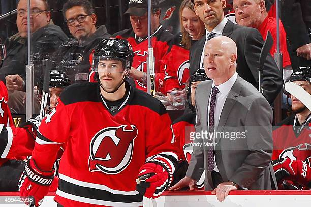 Head coach John Hynes of the New Jersey Devils yells at the referee after a disallowed goal by the Devils against the Columbus Blue Jackets at the...